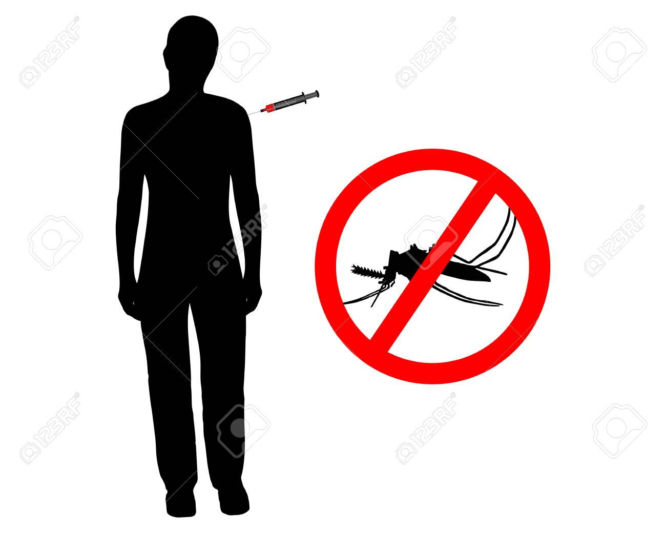 Black silhouette of woman gets an immunization Stock Vector - 5271257