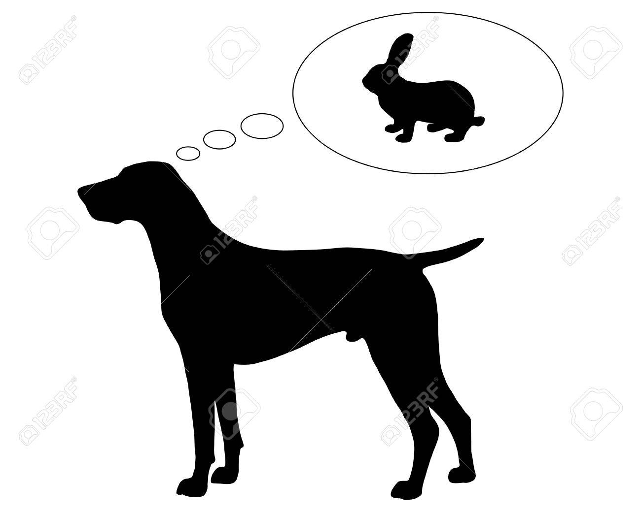 The black silhouette of a German Shorthaired Pointer dreaming of a bunny Stock Vector - 5734500