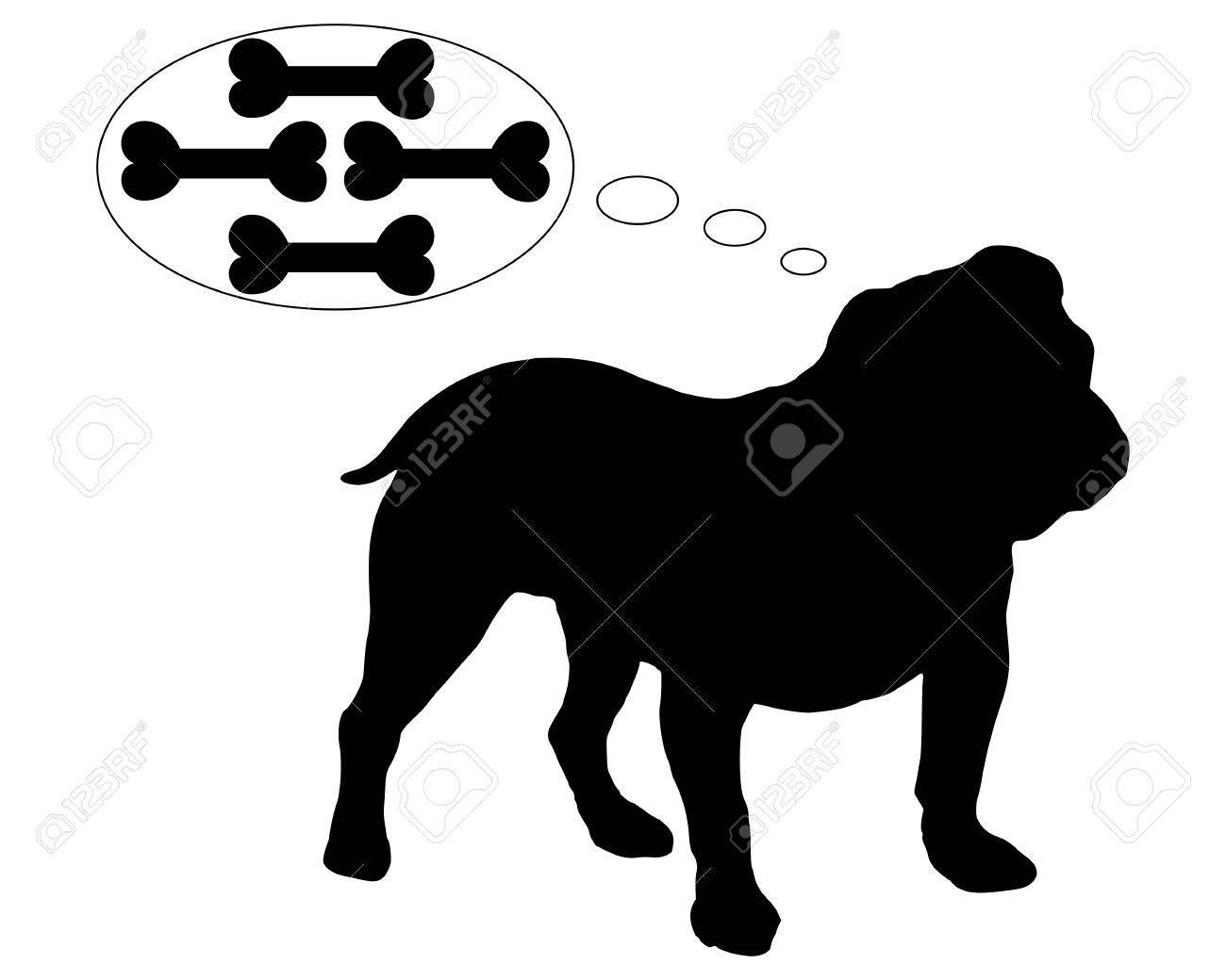 Hungry english bulldog dreams of many bones Stock Vector - 5802142