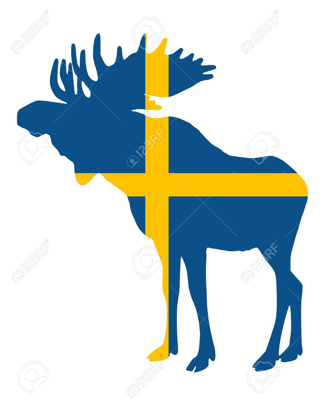 Swedish flag and moose Stock Vector - 7076356