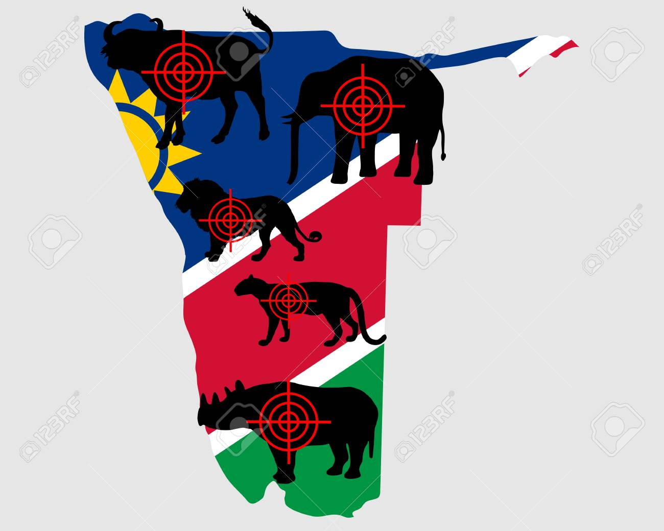 Big Five Namibia cross lines Stock Vector - 9710836
