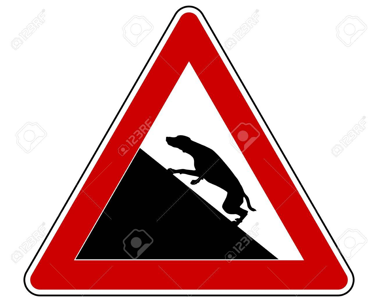 Slope warning sign for dogs Stock Vector - 15016998