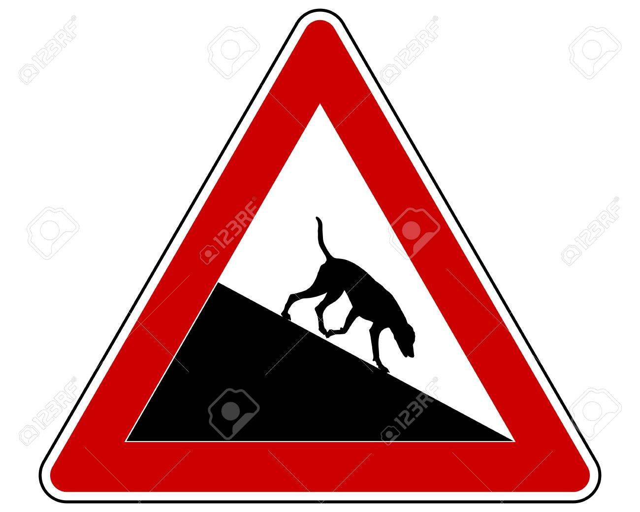 Slope warning sign for dogs Stock Vector - 17997094