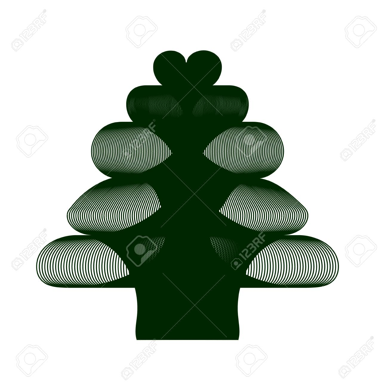 Modern Christmas Tree With A Heart On The Top Royalty Free Cliparts