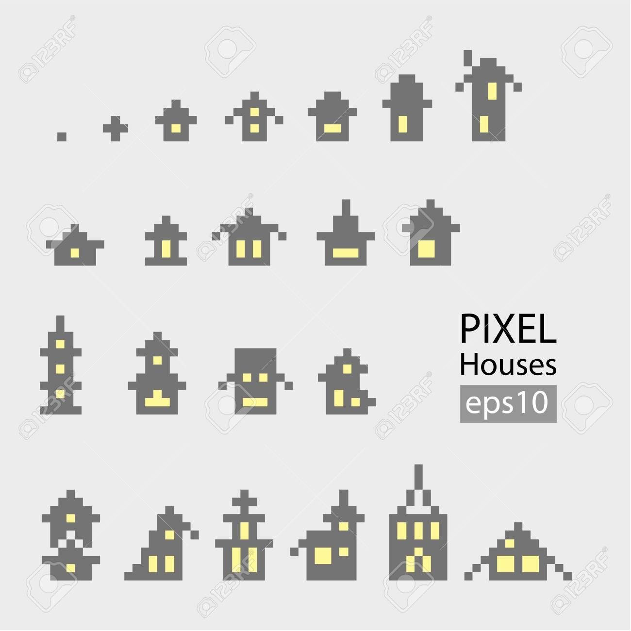 Ensemble De Pixel Petit Bâtiment Isolé Sur Fond Blanc