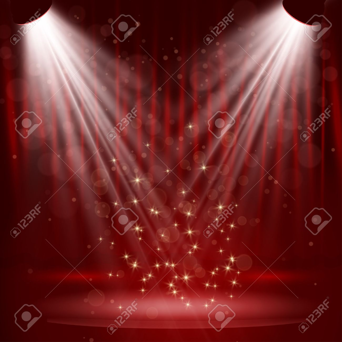 Spotlight on stage curtain with stars. Vector. - 27876583