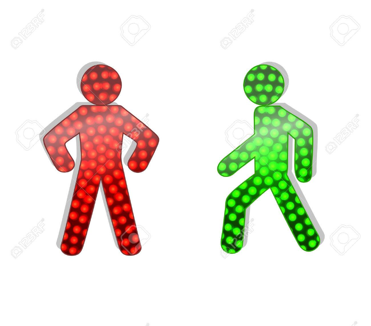 pedestrian traffic lights red and green. Illustration on white background - 38919394