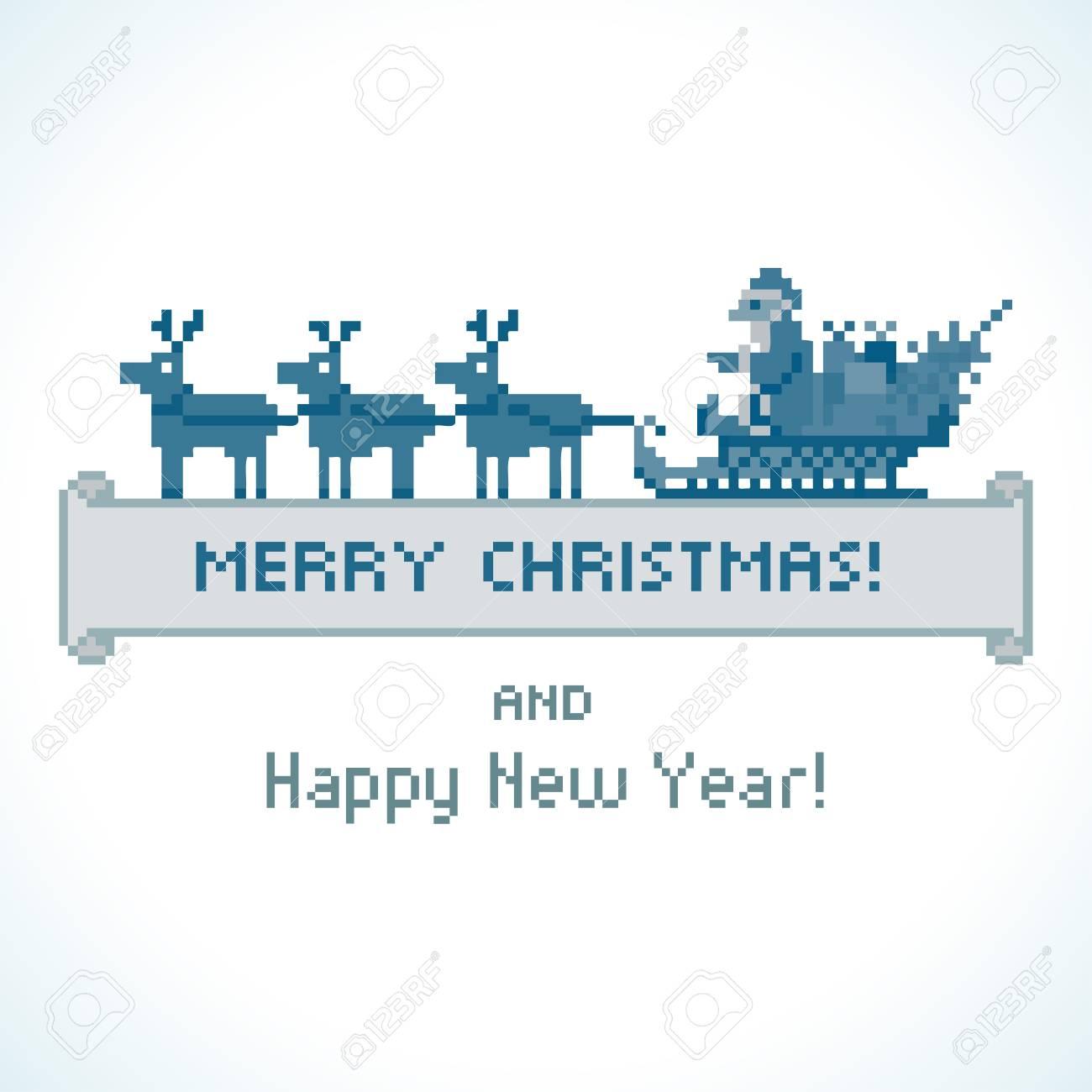 Style Pixel Père Noël Dans Un Traîneau Vecteur