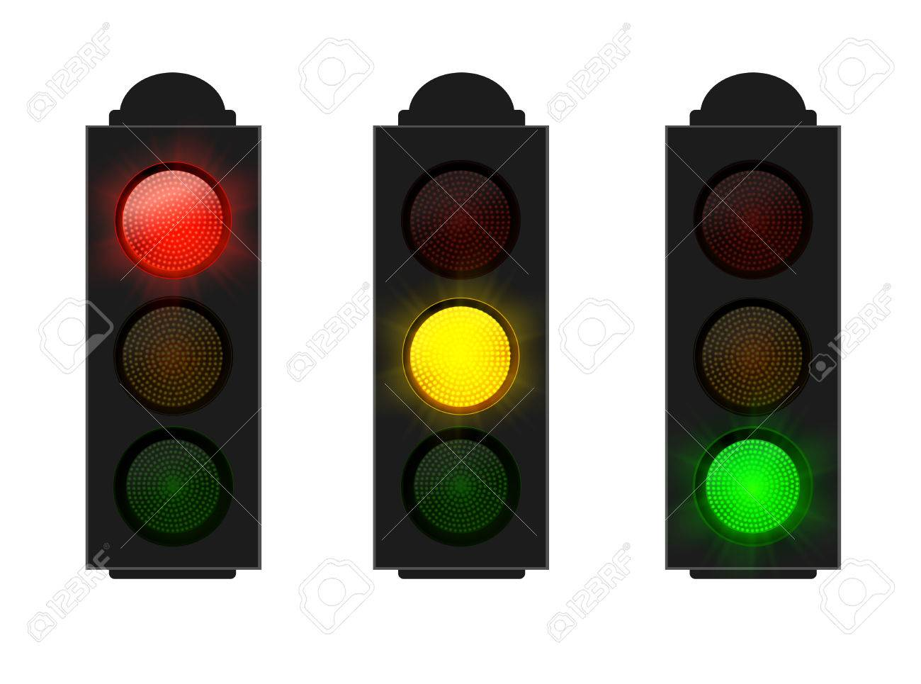 Set Of Traffic Lights Red Yellow And Green Isolated On White, Vector Stock  Vector