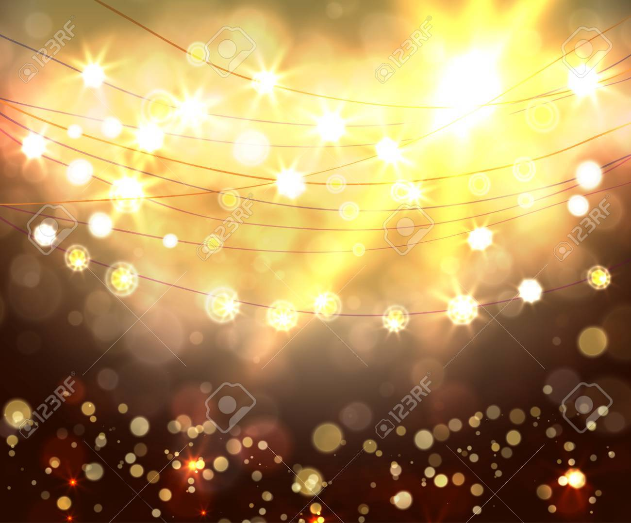 Festive light background with bokeh and stars, vector - 49151812