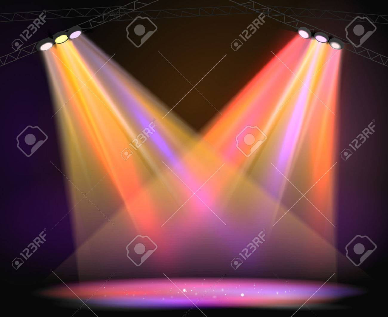 Background image of spotlights with stage in color - 49819721