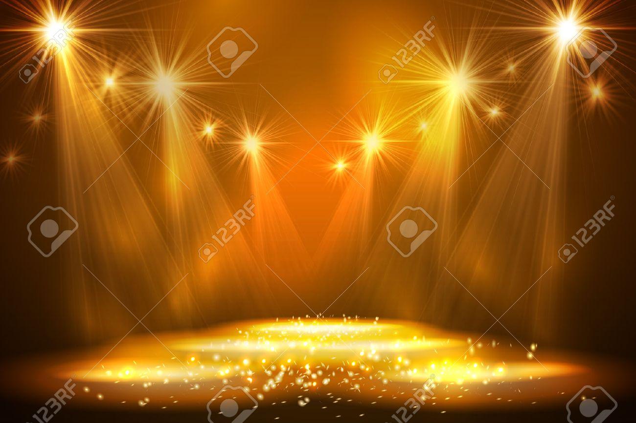 Spotlights on stage with smoke light. Vector illustration. - 51354566