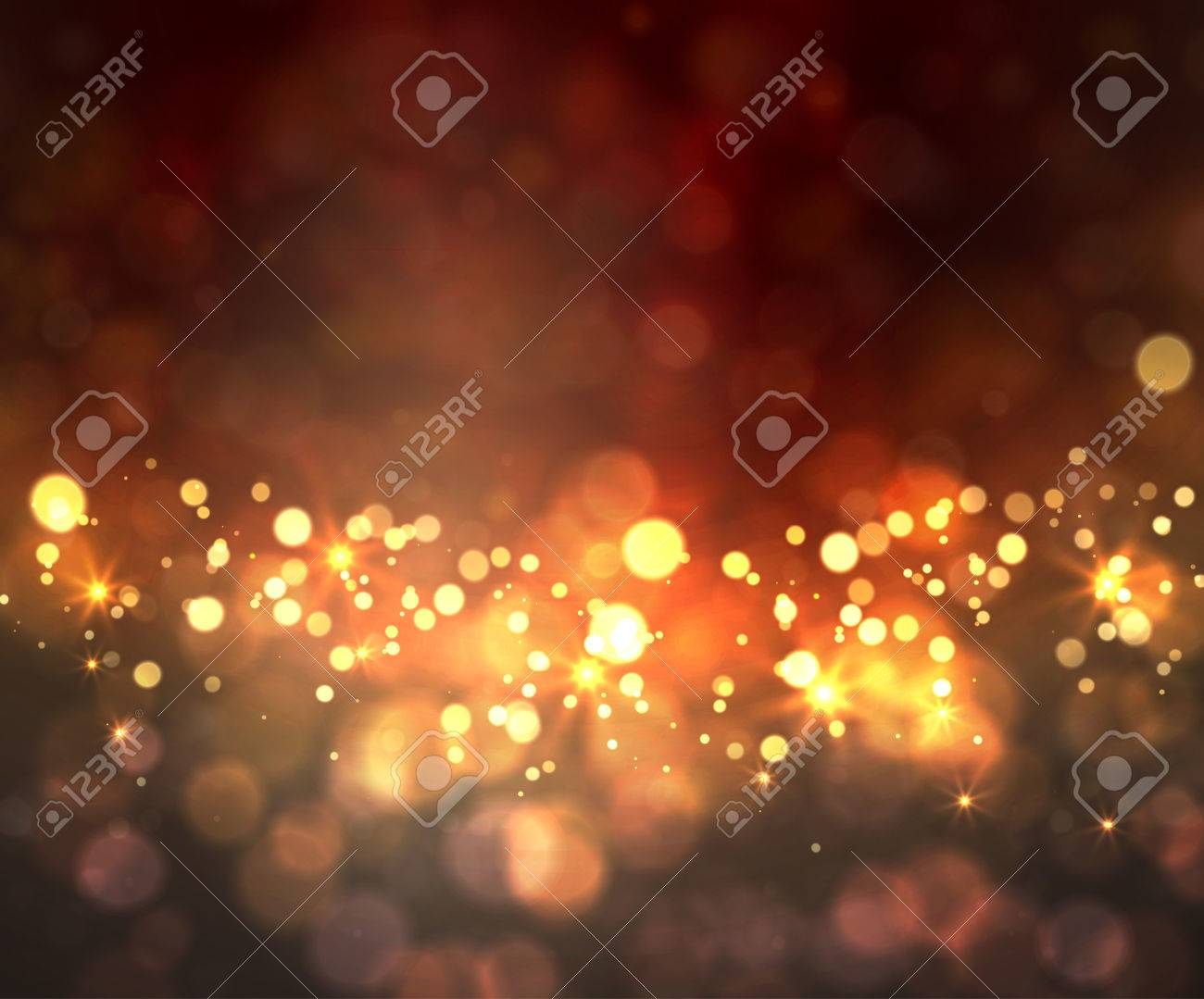 Festive light background with bokeh and stars - 52547168