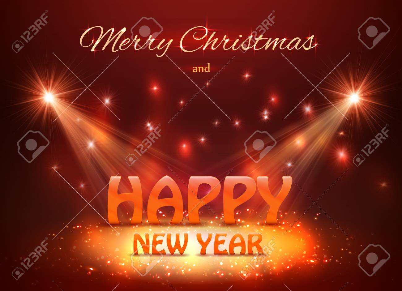 2018 Happy New Year Greeting Background With Spotlights Royalty Free