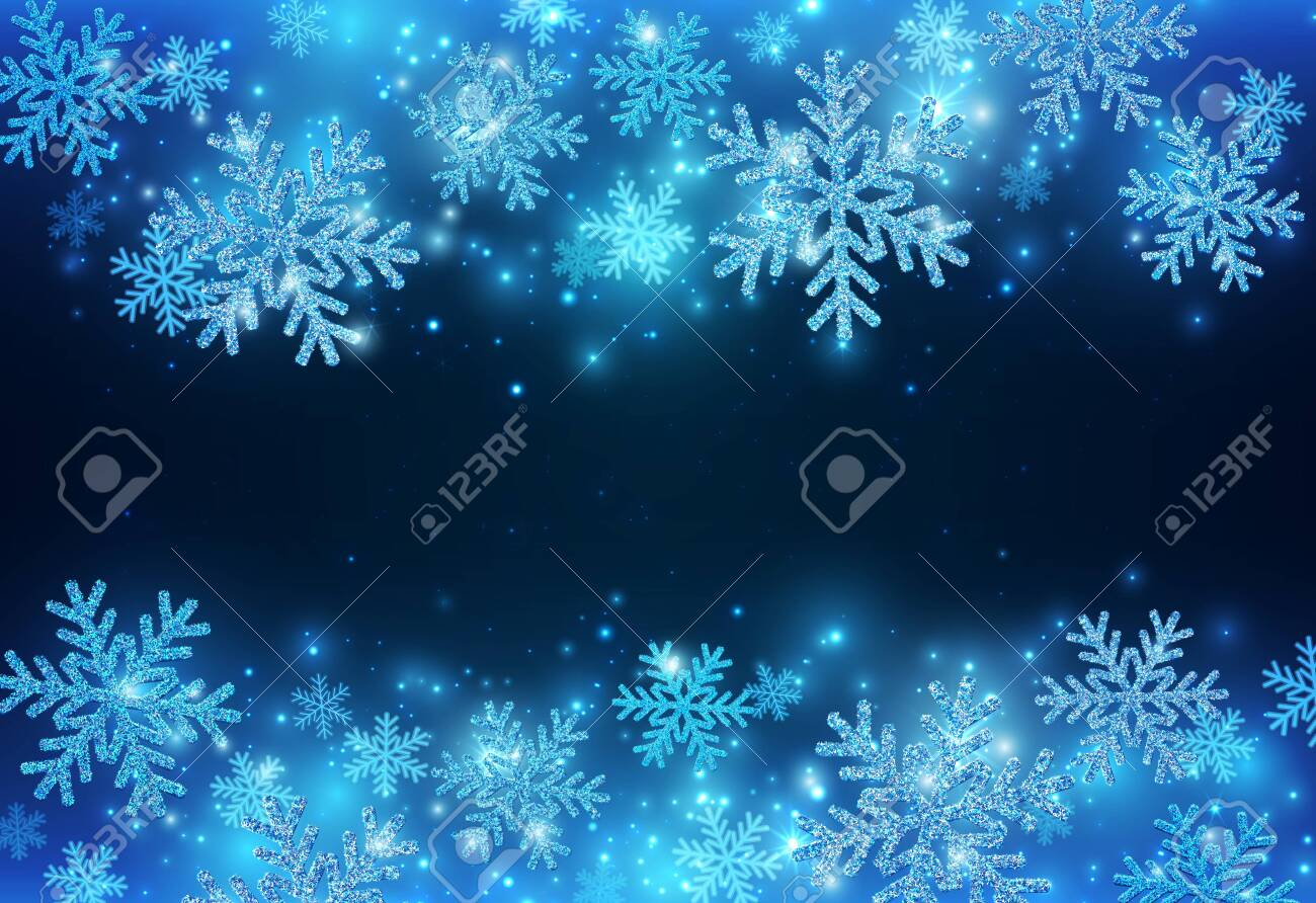 Blue New Year Banner With Sparkling Snowflakes. Christmas Beauty Background. Vector EPS 10 - 123029857