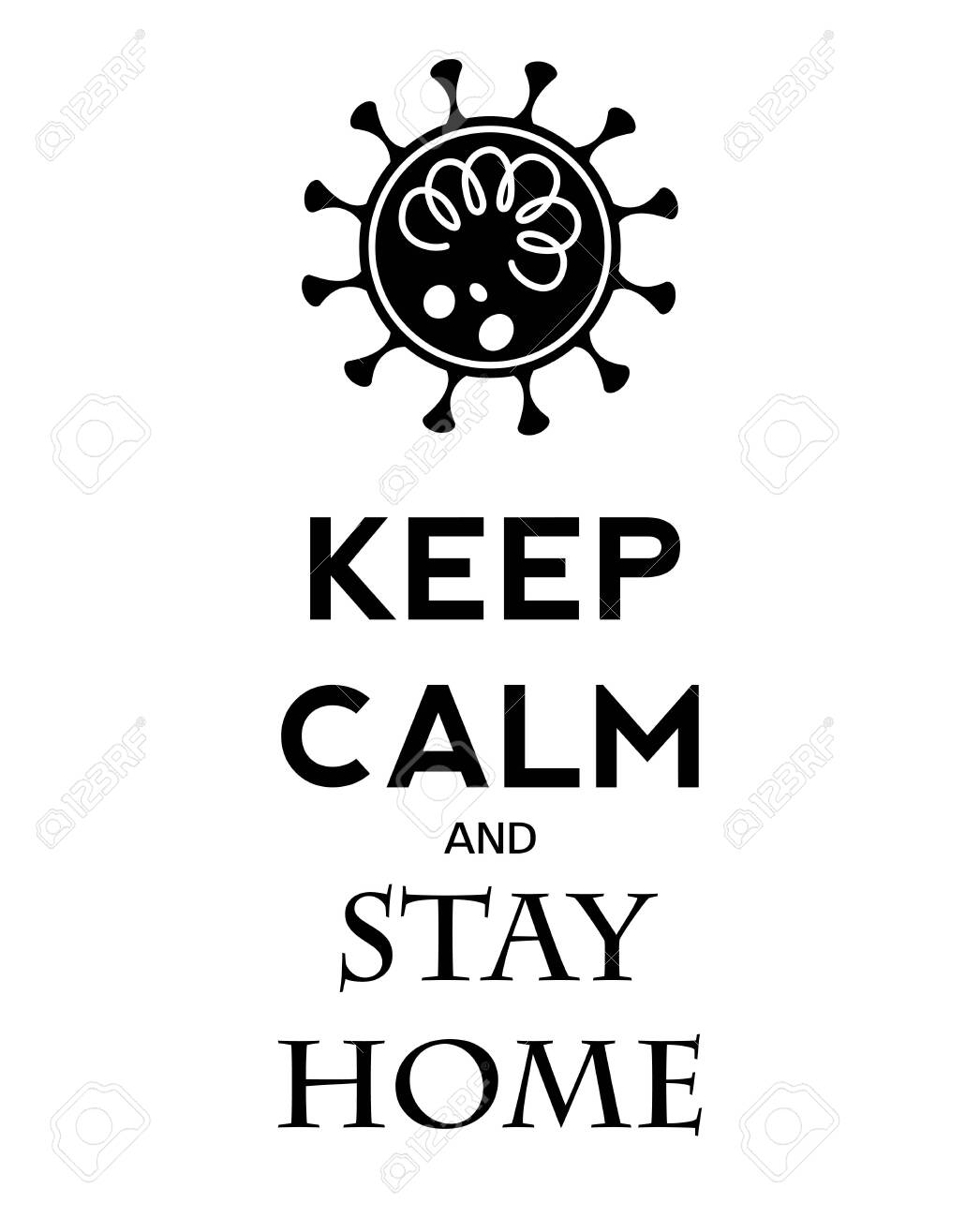 Keep calm and stay home. Protection covid19. Vector. - 142917118
