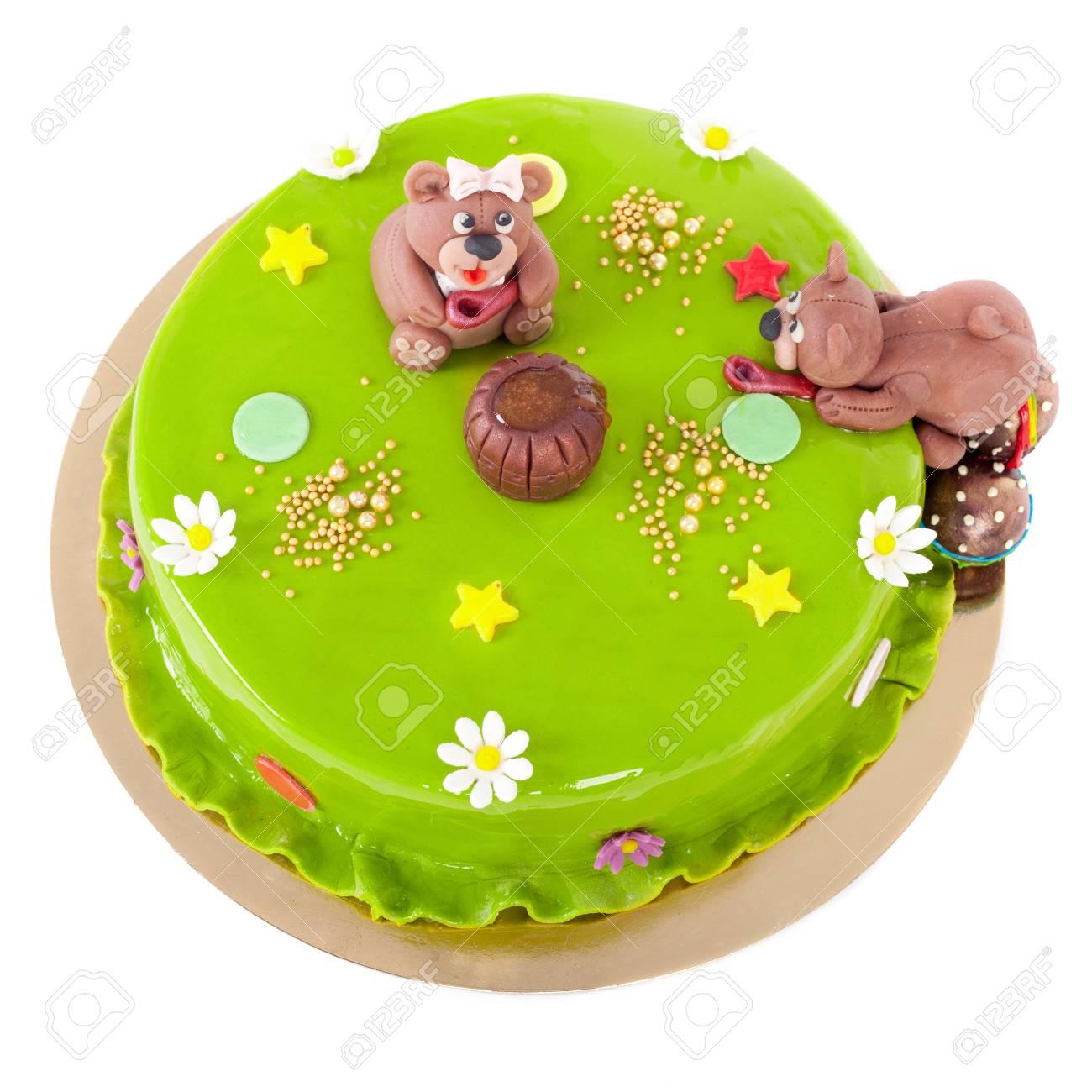 Kostlicher Kuchen Fur Den Kindergeburtstag Gemacht Lizenzfreie Fotos