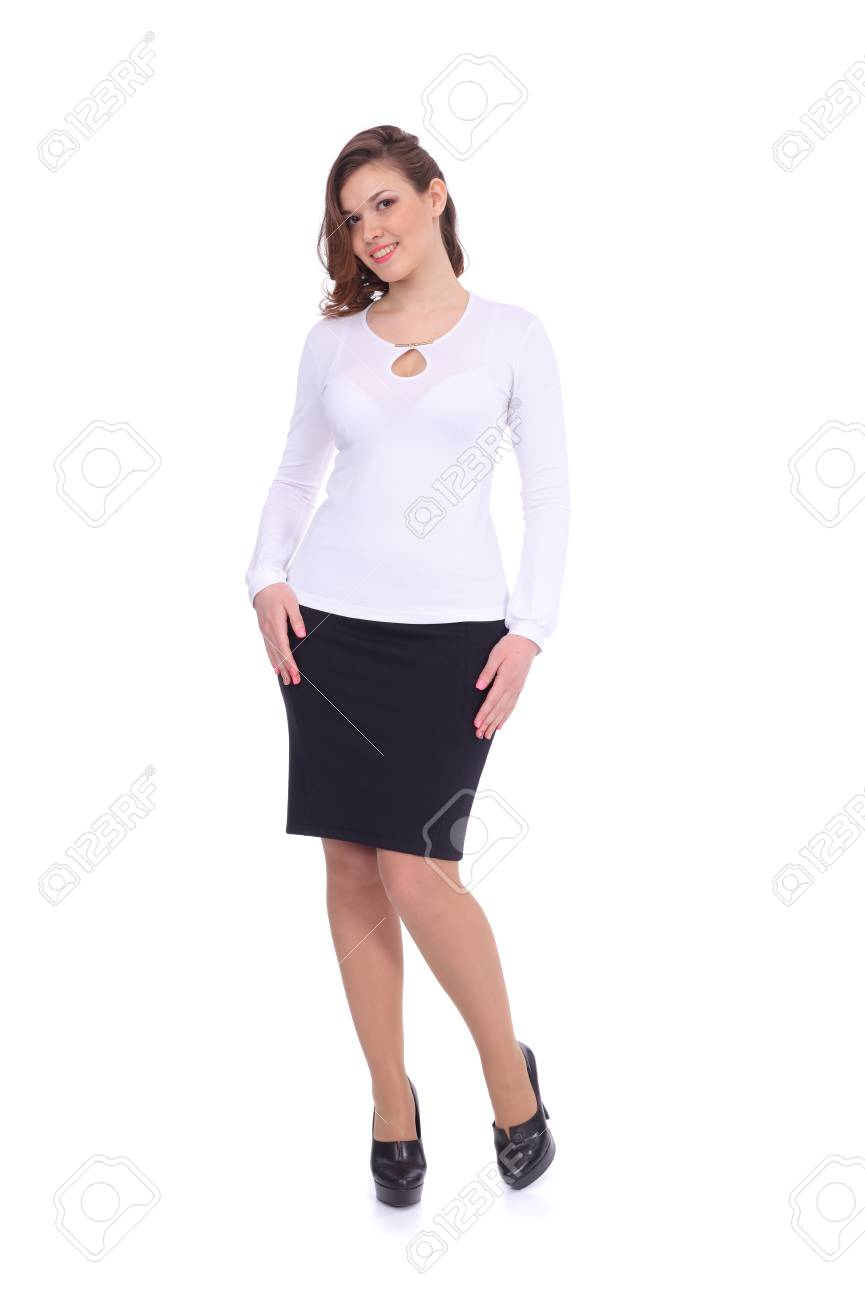 6797d5287a pretty young girl wearing white blouse with the black skirt isolated on white  Stock Photo -