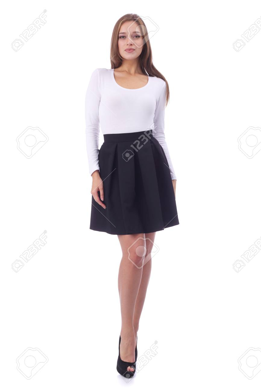9648fd6113 pretty young girl wearing white top and black skirt Stock Photo - 96996169
