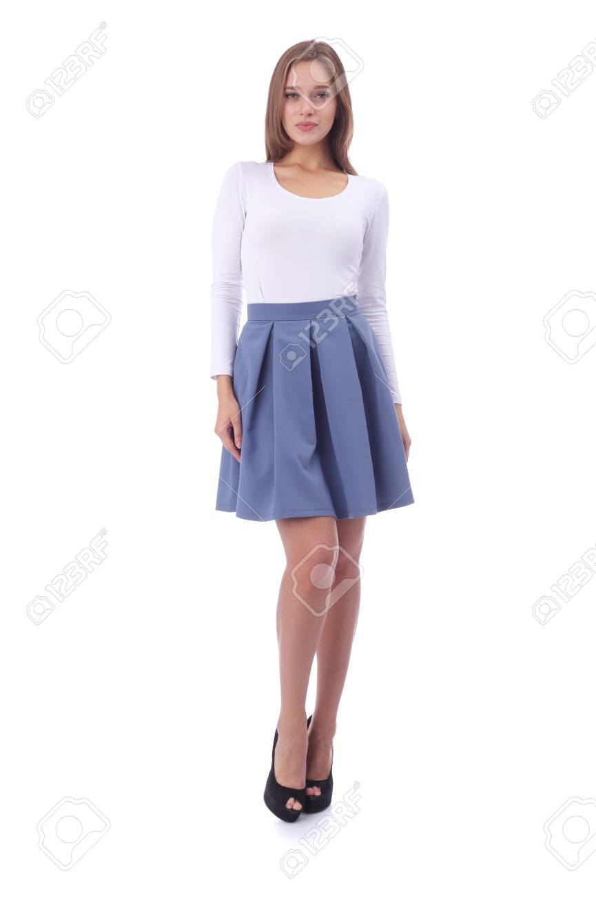 f00708c8c pretty young girl wearing white top and blue skirt Stock Photo - 96996175