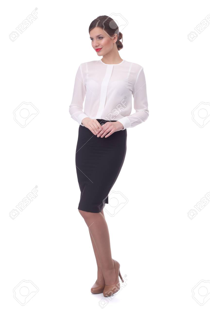 Pretty Young Girl Wearing Black Formal Skirt And White Blouse Stock