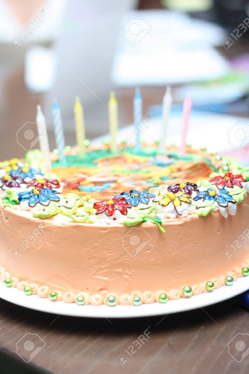 Bright Tasty Birthday Cake Closeup Stock Photo