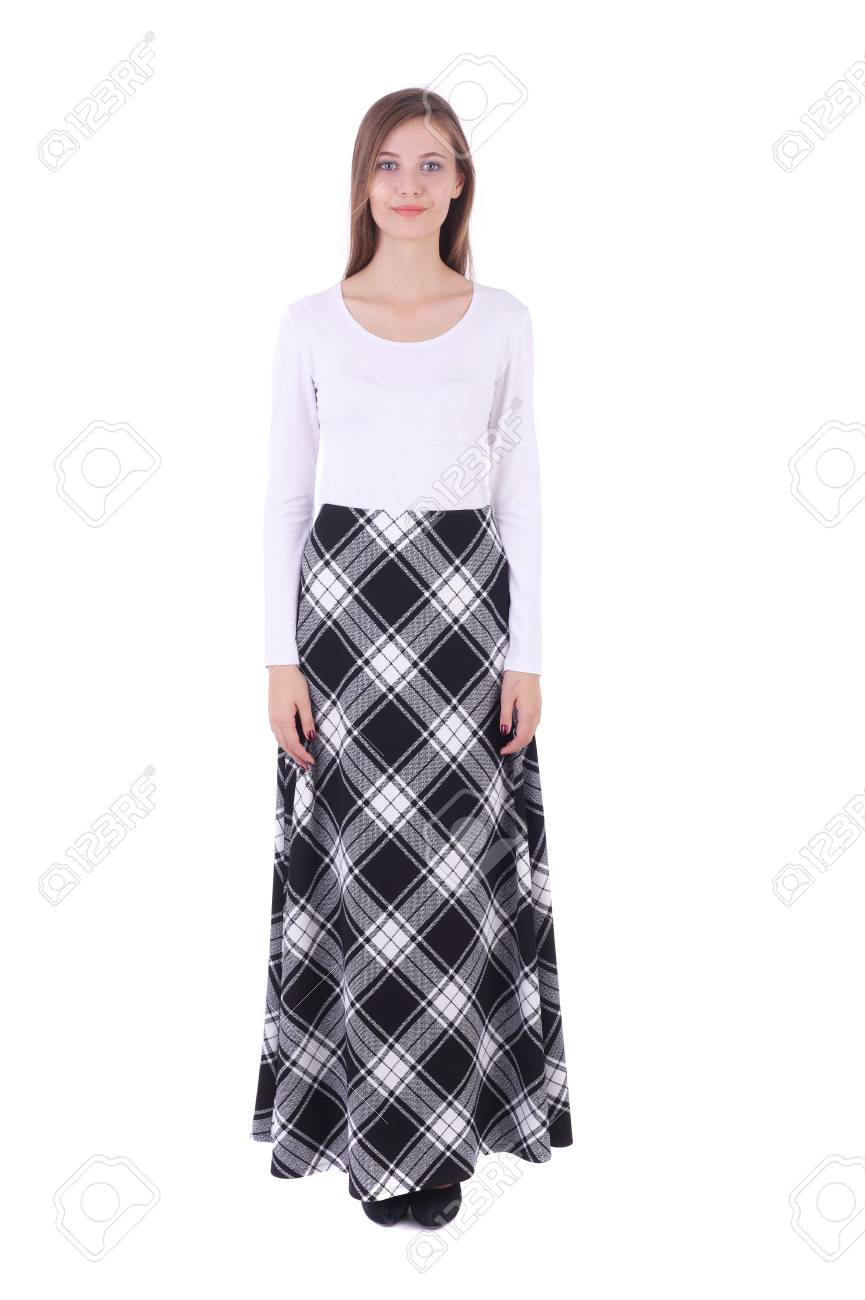 7e006173fa pretty young girl wearing white top and checkered long skirt Stock Photo -  97629982