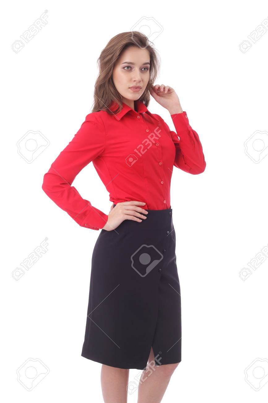 4a68afff5b pretty young girl wearing black formal skirt and red blouse Stock Photo -  97630098