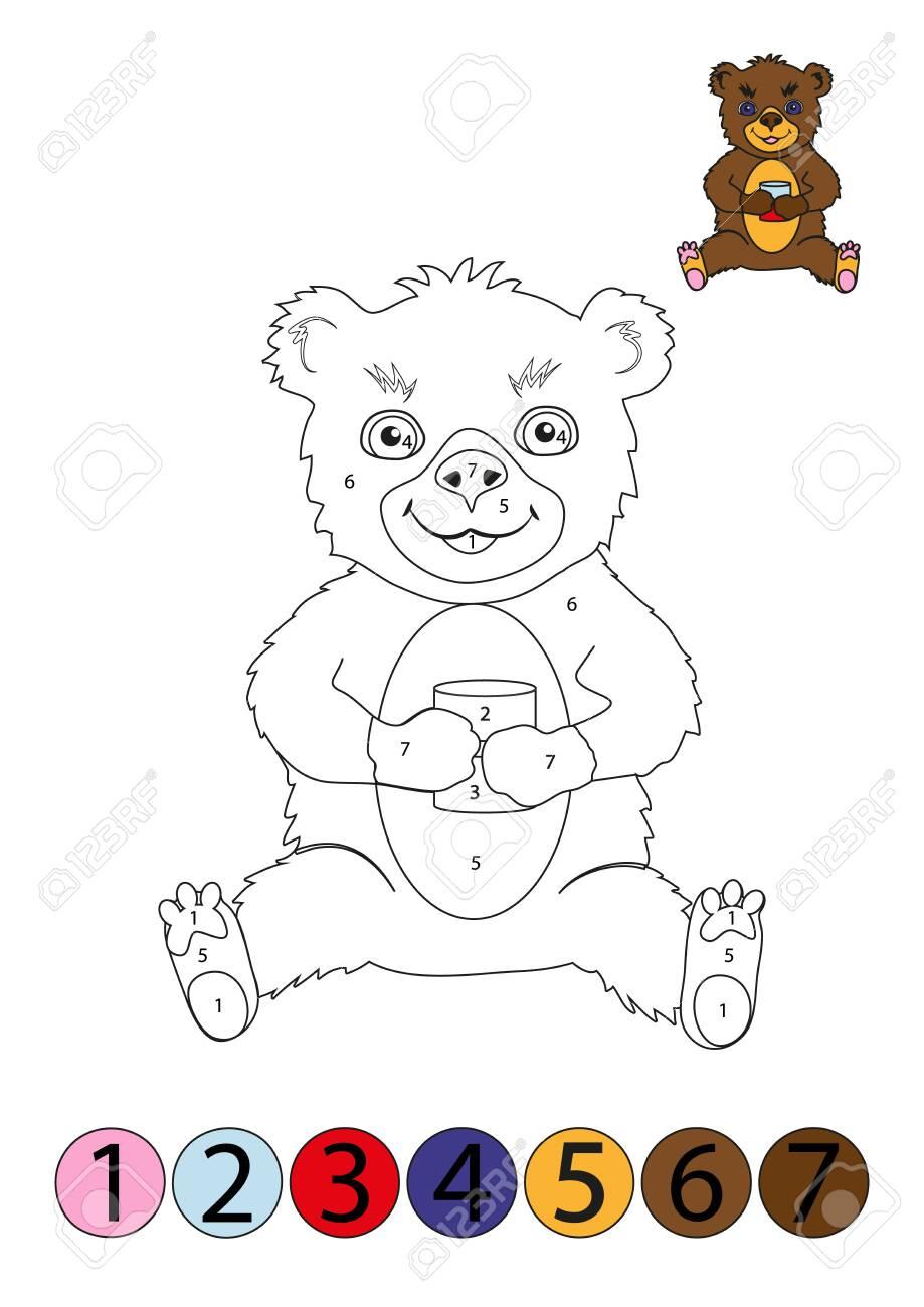 Coloring Concept Funny Teddy Bear Coloring Page With Number Royalty Free Cliparts Vectors And Stock Illustration Image 133103659