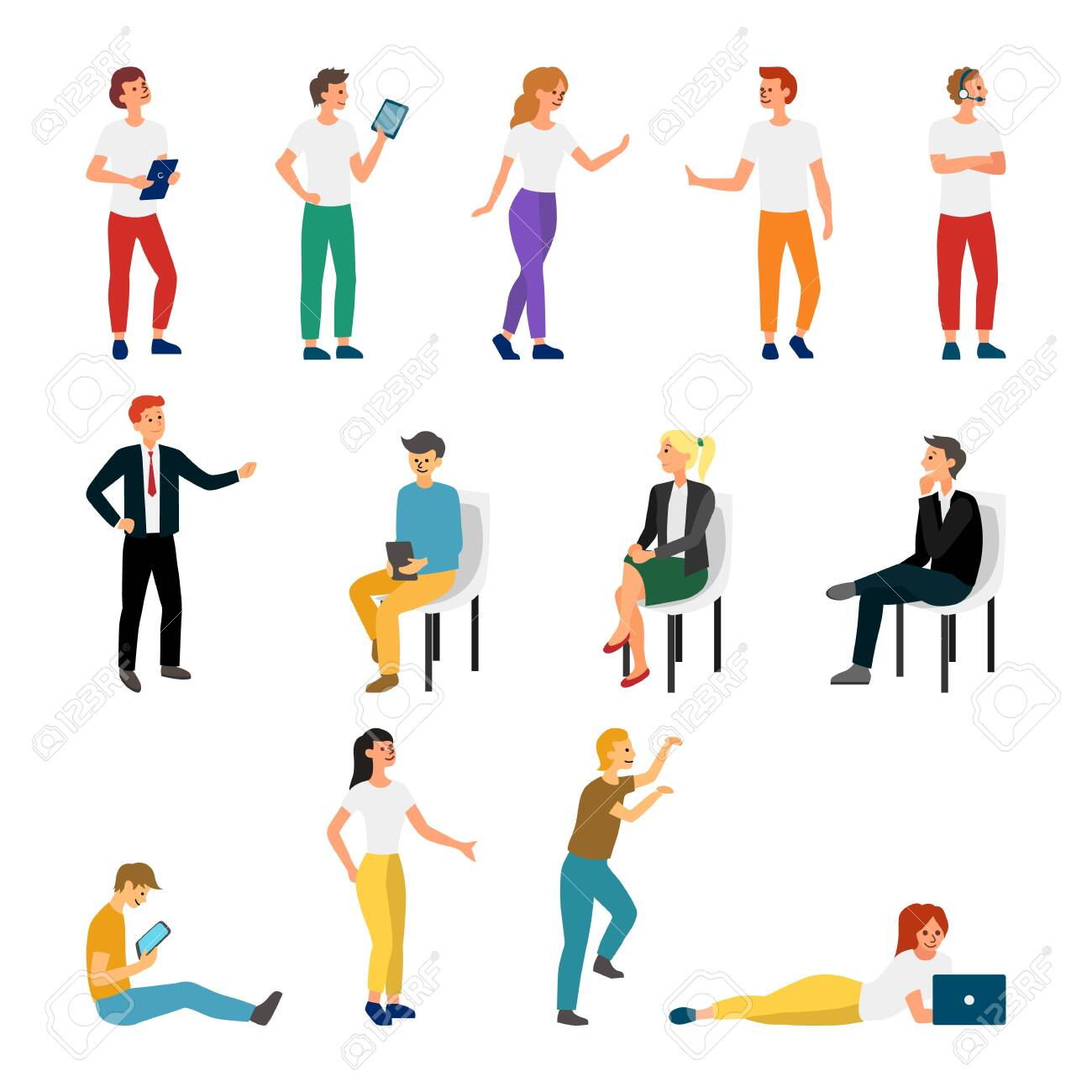 Collection Creative Various Lifestyle Character. Set Crowd of People Performing Activity. Flat style. Vector Illustration. - 135280245