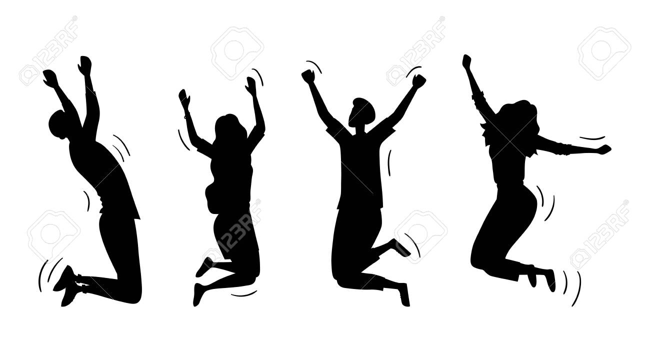 Jumping Happy People Set. Silhouettes Of Young Funny Teens Boys And Girls Jumping Together. Joy Lifestyle, Happy And Success In Studying, Business Or Personal Life. Cartoon Flat Vector Illustration. - 148734181
