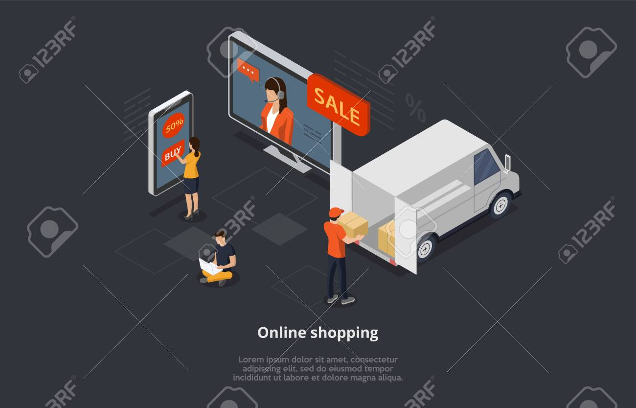 Isometric Online Shopping Concept. Characters Order And Buy Goods On Sale Online By Means Mobile App. Courier Delivers Purchases. Men And Women Are Using Gadgets To Buy Goods. 3D Vector Illustration - 153284452