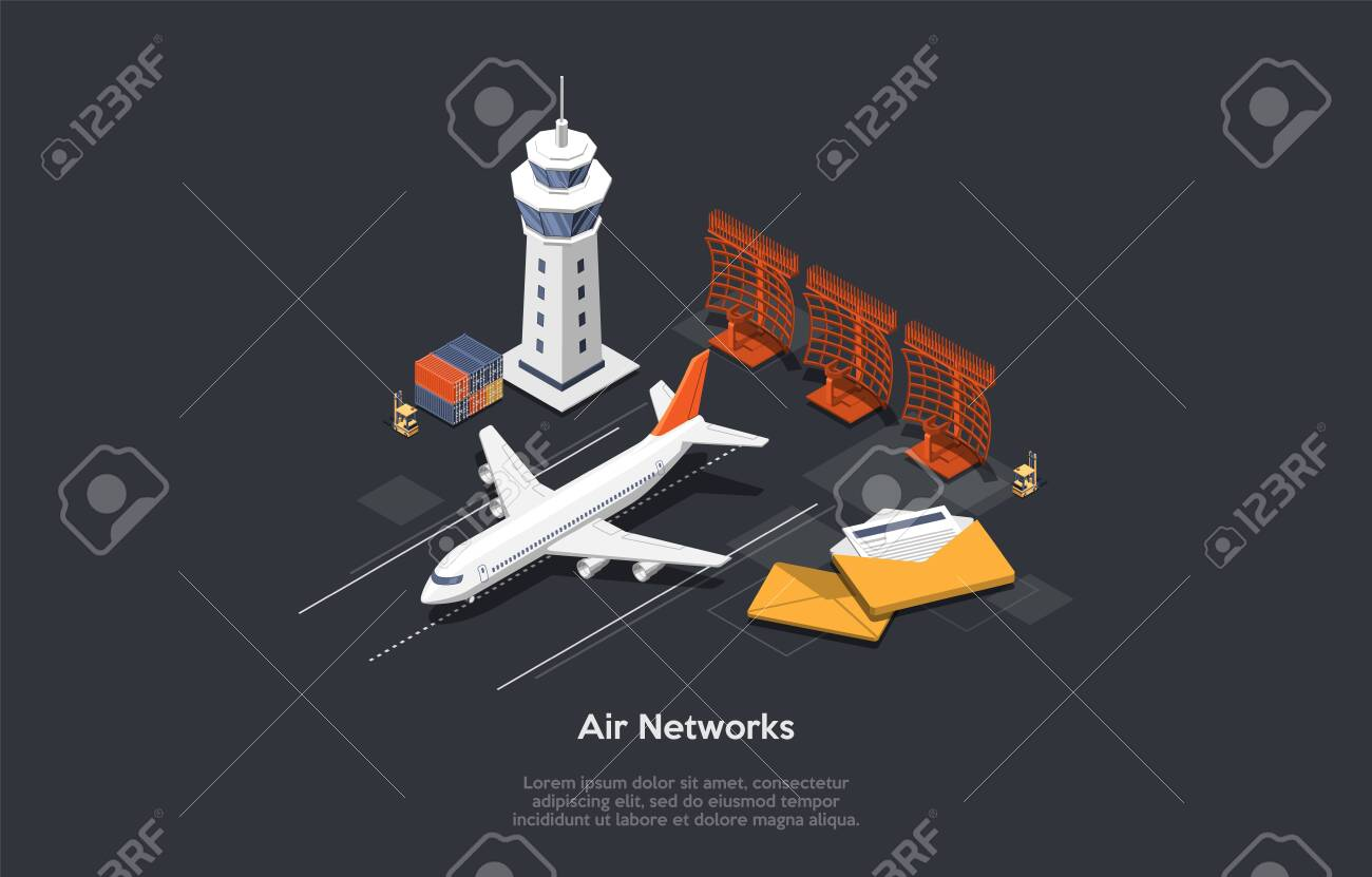 Air Network Concept. Set Of Airport Control Tower, Airplane On Runway, Correspondance Letters, Forklift And Containers With Cargo. Colorful 3d Isometric Vector Illustration On Dark Gray Background - 153848851