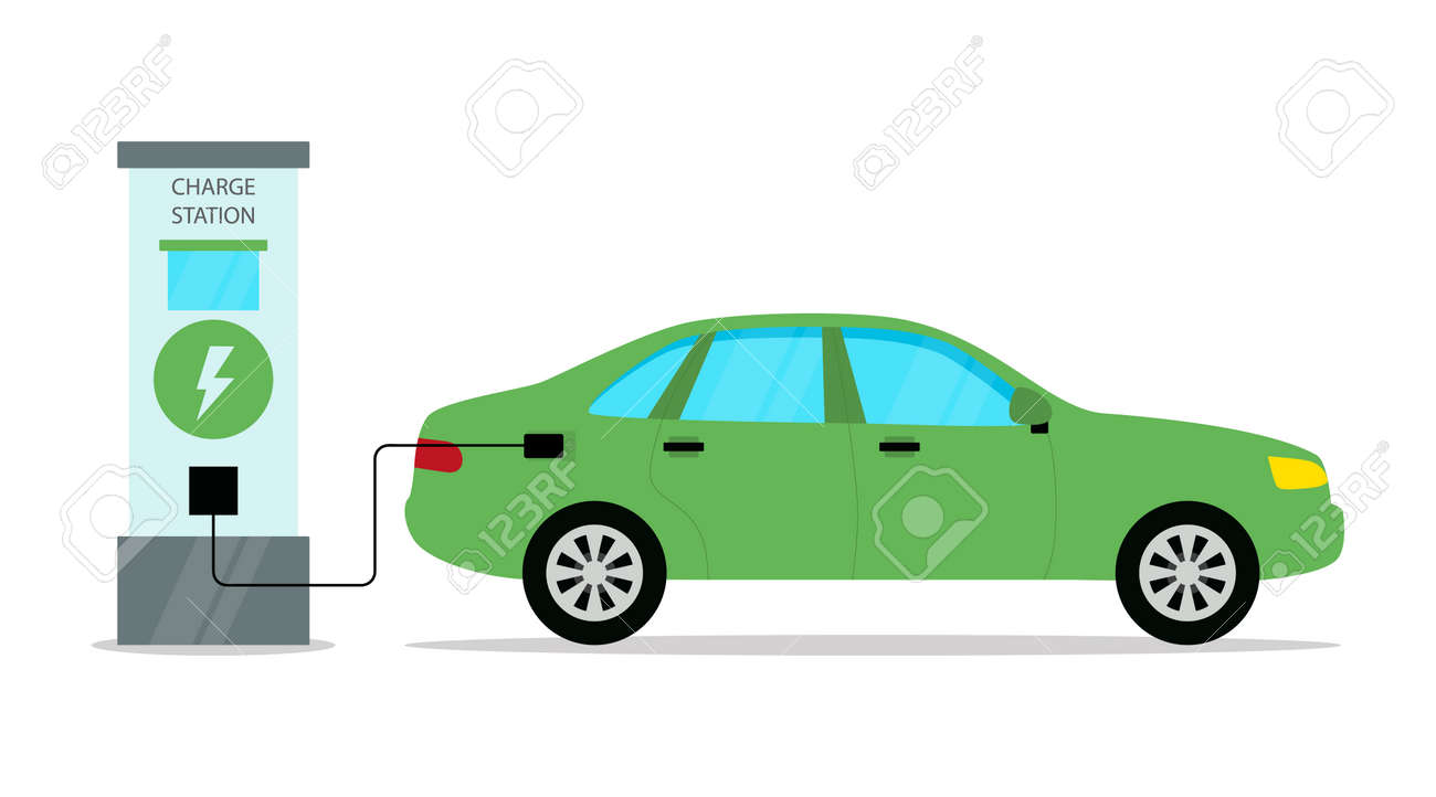 Electrical Automobile Charge Station Conceptual Illustration In Cartoon Flat Style. Vector Composition With Green Car Filling With Energy. Modern Ecology Friendly Transport Means And Environment Care - 162825637