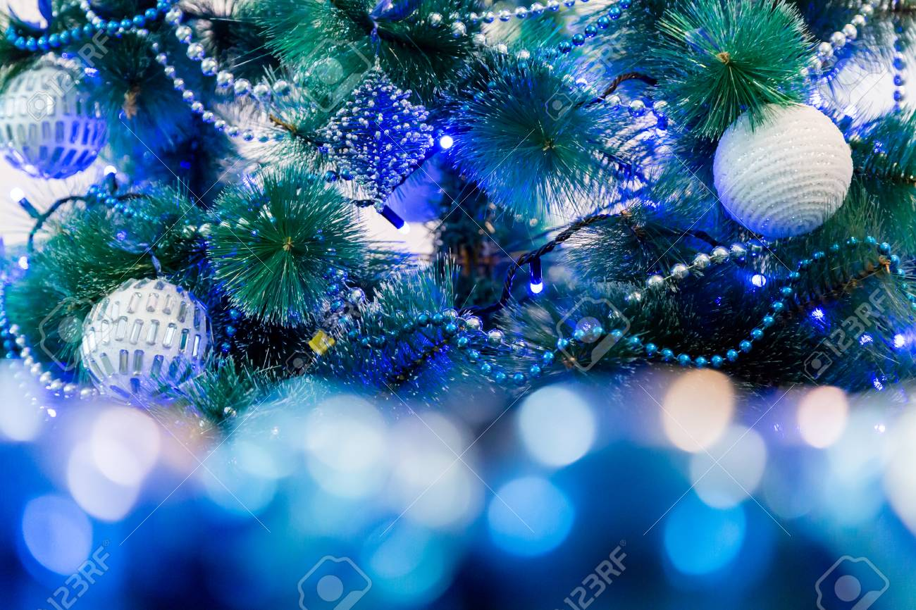 Decorated Christmas Tree With Blue Lights White Christmas Ball