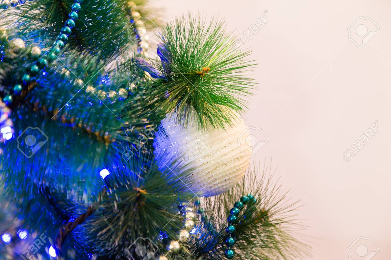 White Christmas Tree With Blue Lights.Decorated Christmas Tree With Blue Lights White Christmas Ball