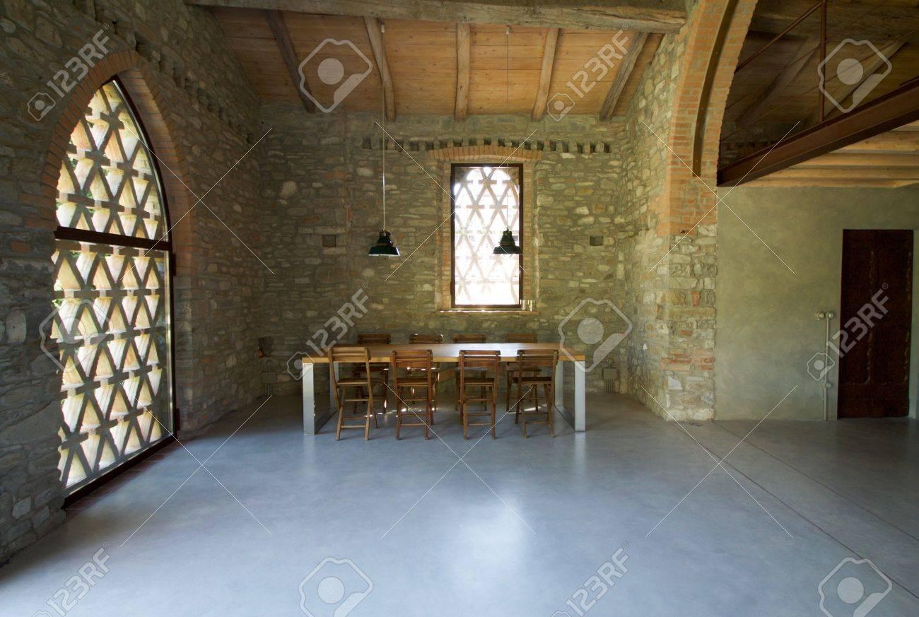 Interior Of Loft With Mezzanine In The Hills Stock Photo, Picture ...