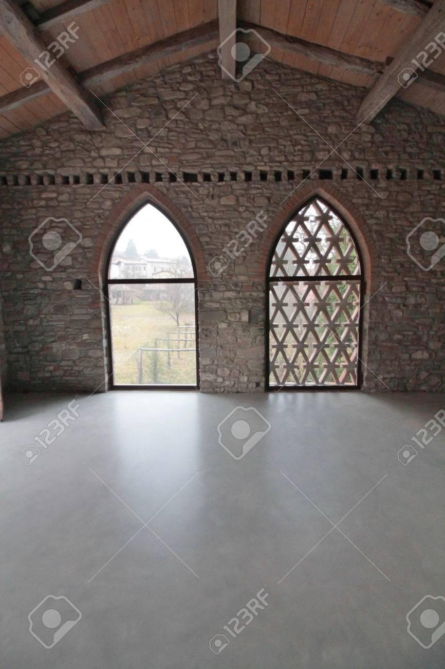 polished concrete floor loft. Loft In The Hills, Polished Concrete Floor Stock Photo - 65882747 H