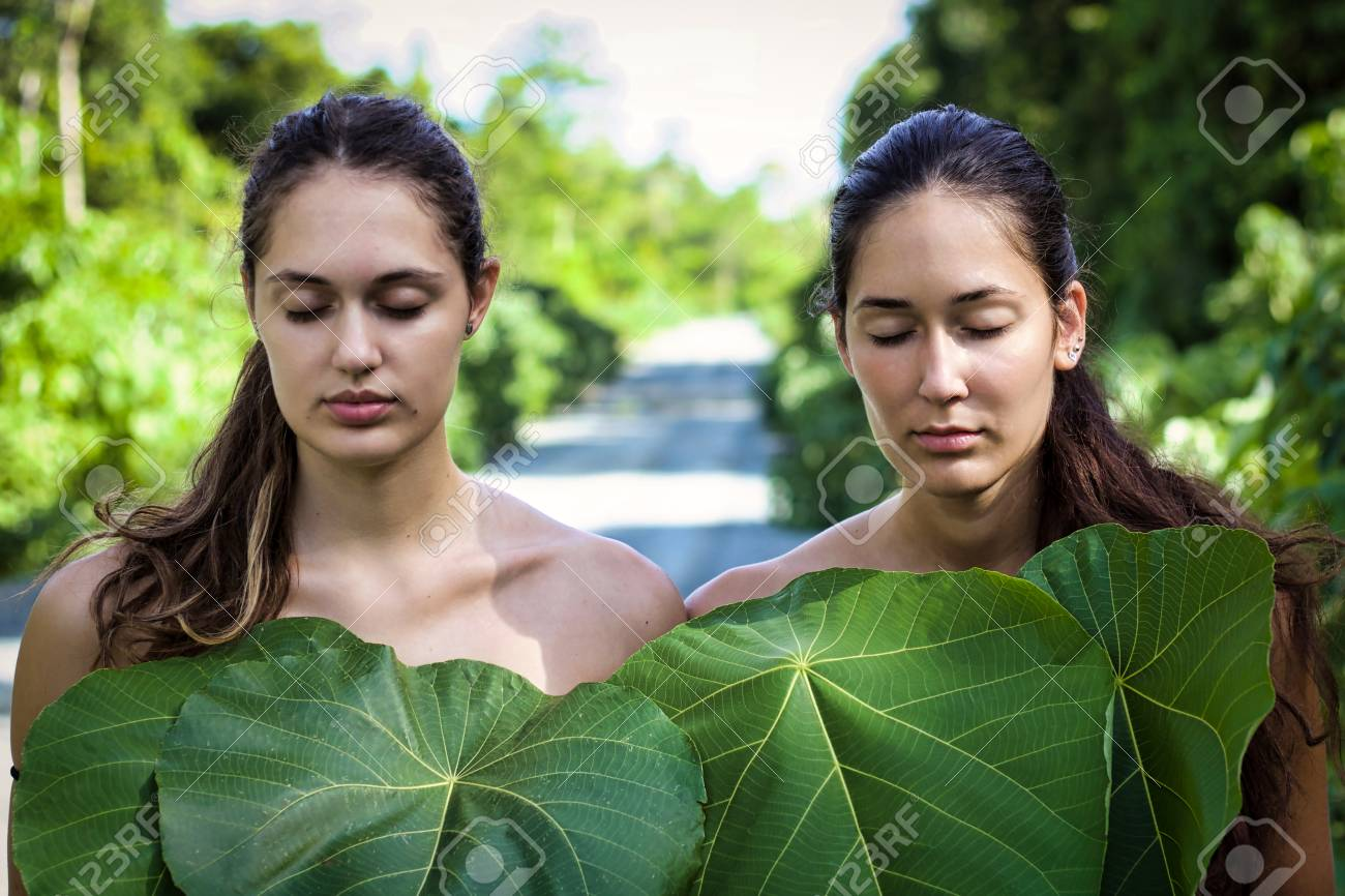 Natural Beauty In The Nature Portrait Of Two Nude Girls Covered Stock Photo Picture And Royalty Free Image Image 117005777