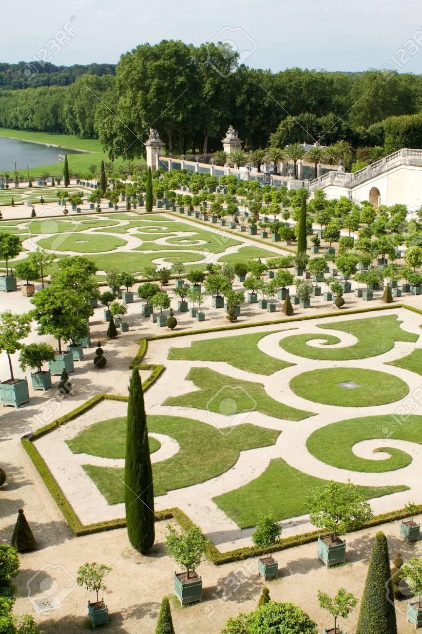 part of the beautiful orangery garden, Versailles palace, France