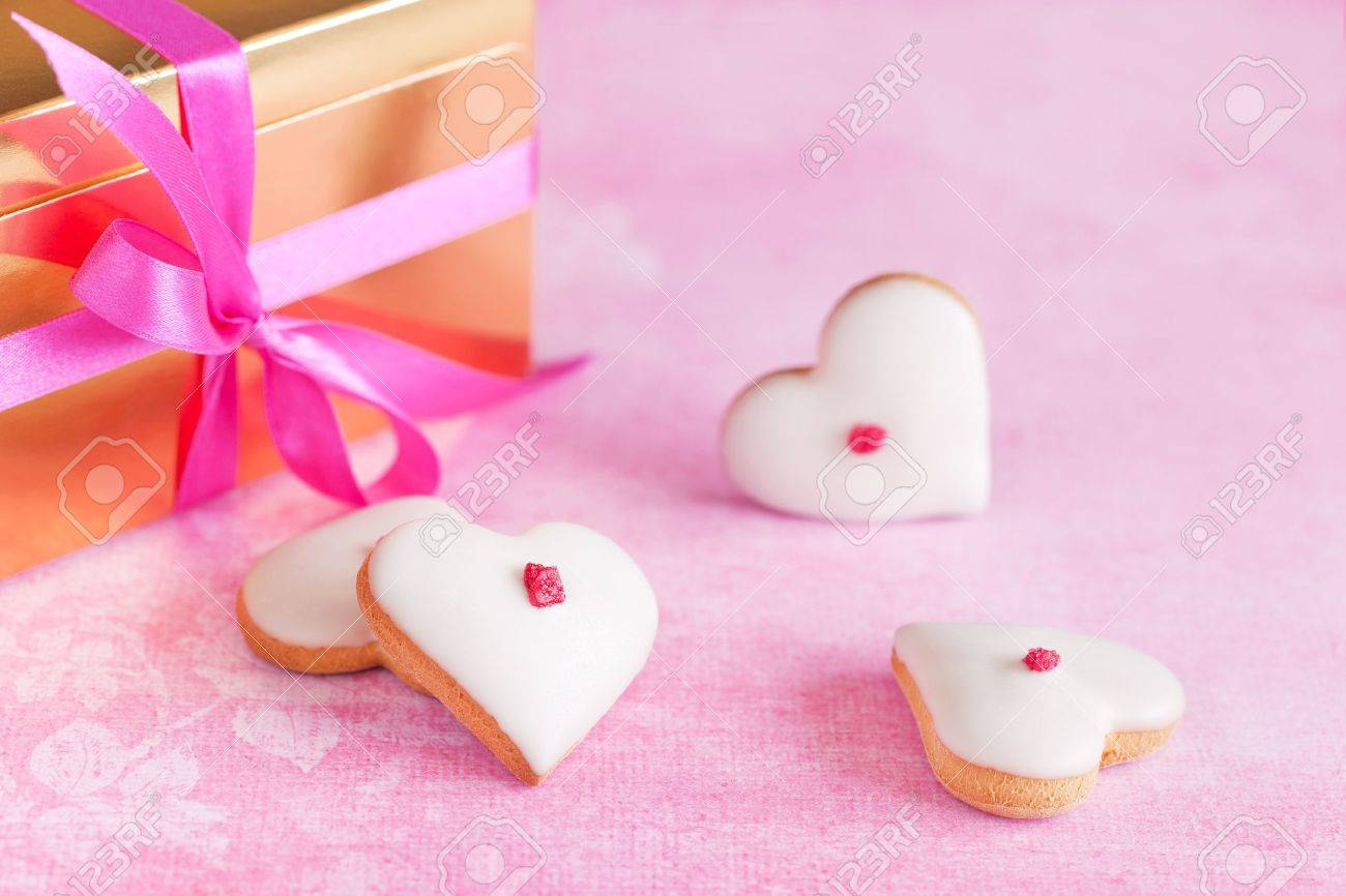 Homemade White Chocolate Frosting Cookies For Valentine?s Day Stock ...