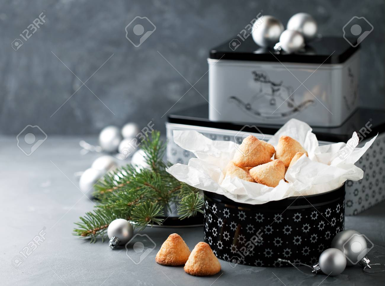 Coconut Macaroon In Gift Box For Christmas Selective Focus Stock Photo Picture And Royalty Free Image Image 51500116