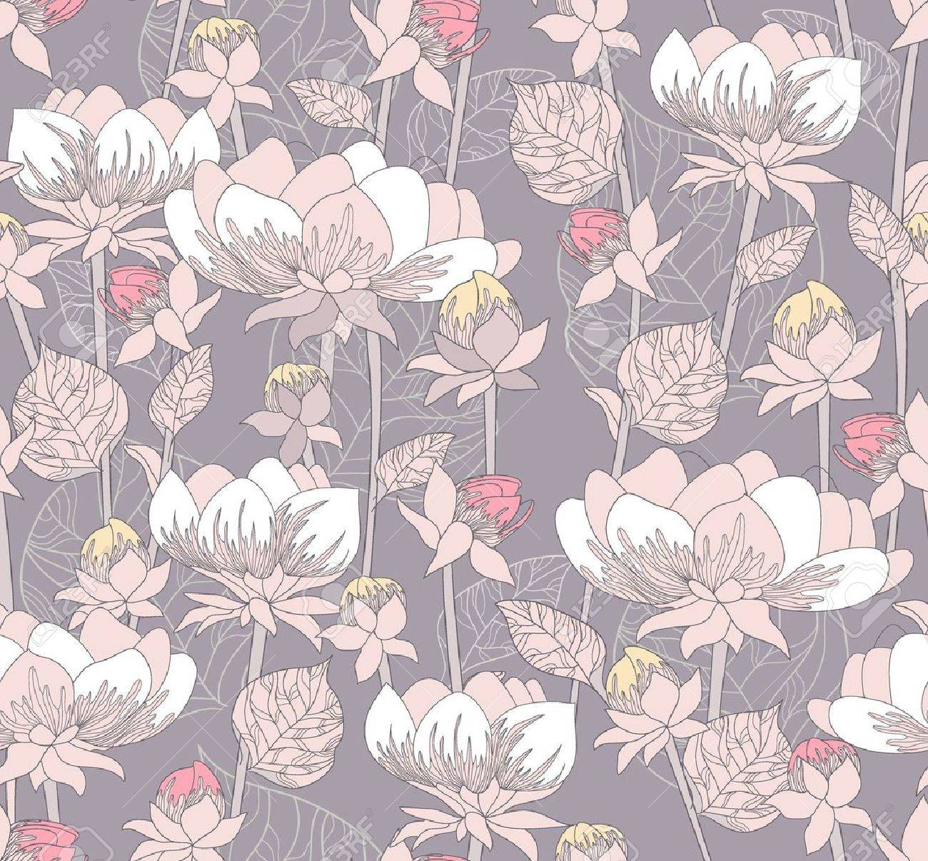 Seamless Pastel Floral Pattern Background With Flowers Royalty