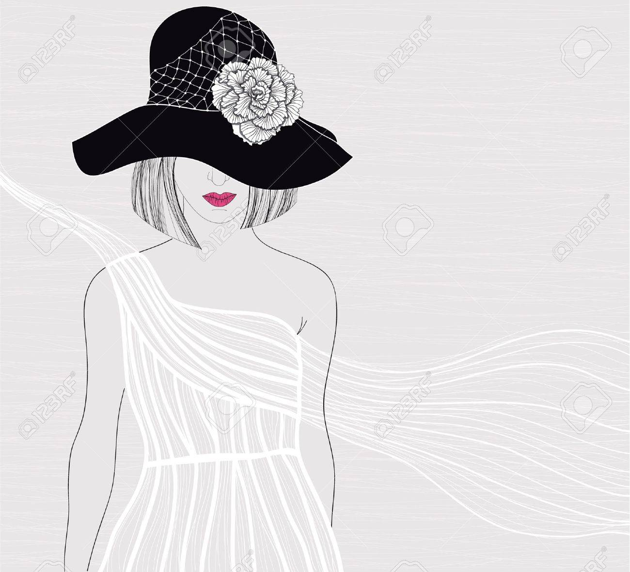 Elegant background with women in beautiful white dress. Female with hat and flower on it. Fashion illustration. Stock Vector - 10772631
