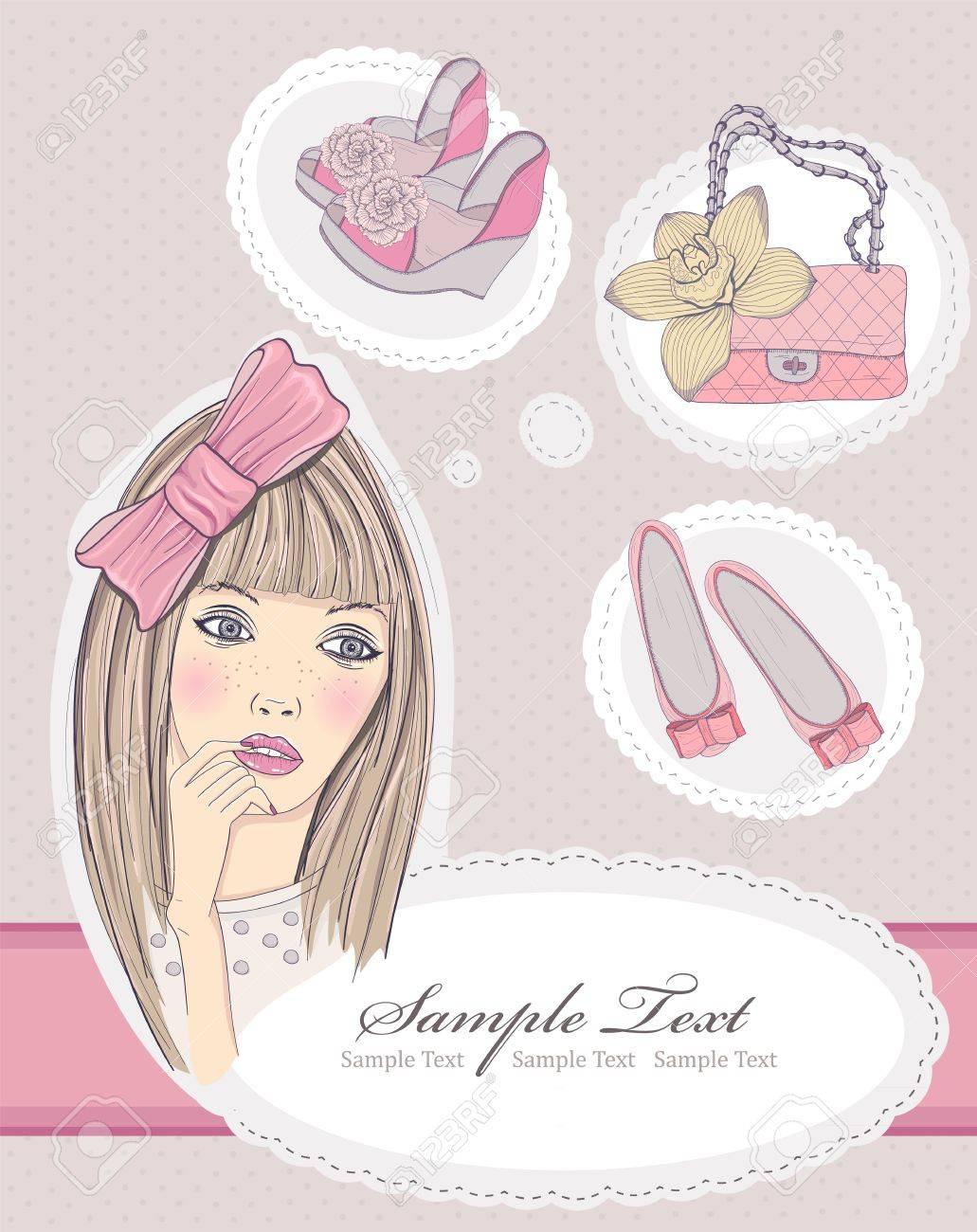 バッグや靴についての夢のファッションの女の子。ベクトル イラスト