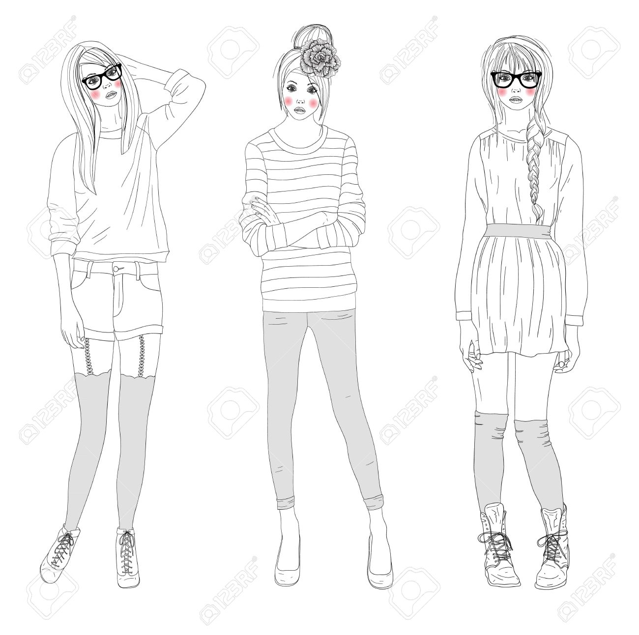 Young beautiful girls fashion illustration. Vector illustration. Background with teen females in fashionable clothes posing. Fashion illustration. Stock Vector - 11232794