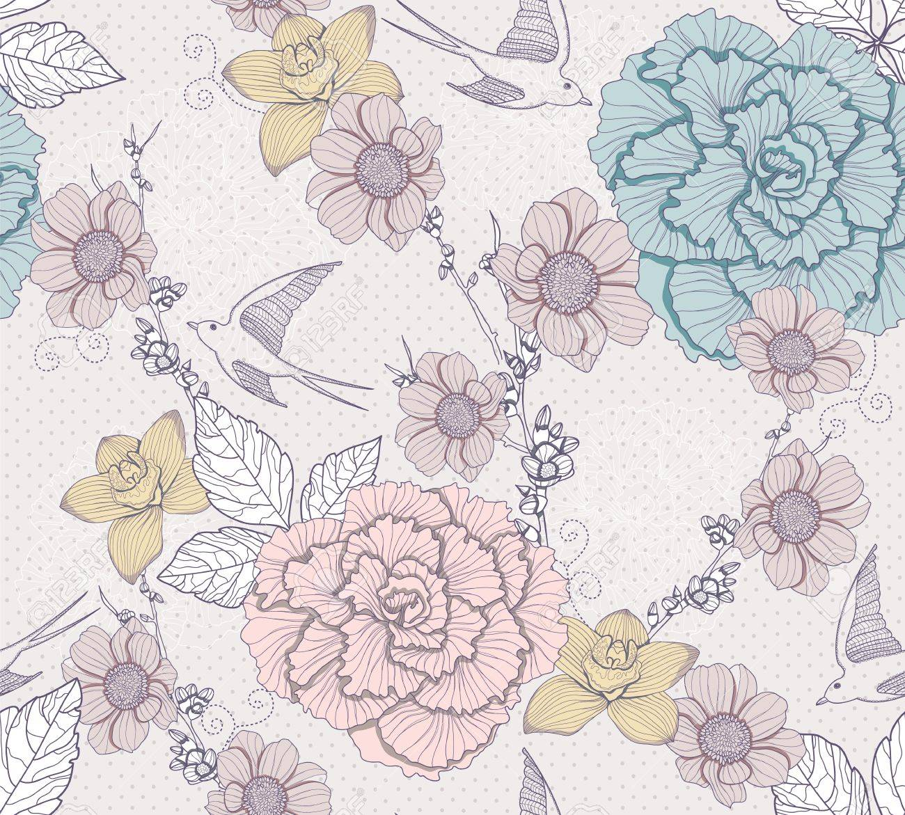 Seamless floral pattern. Seamless pattern with flowers and birds. Elegant and romantic background with swallows. Stock Vector - 11232802
