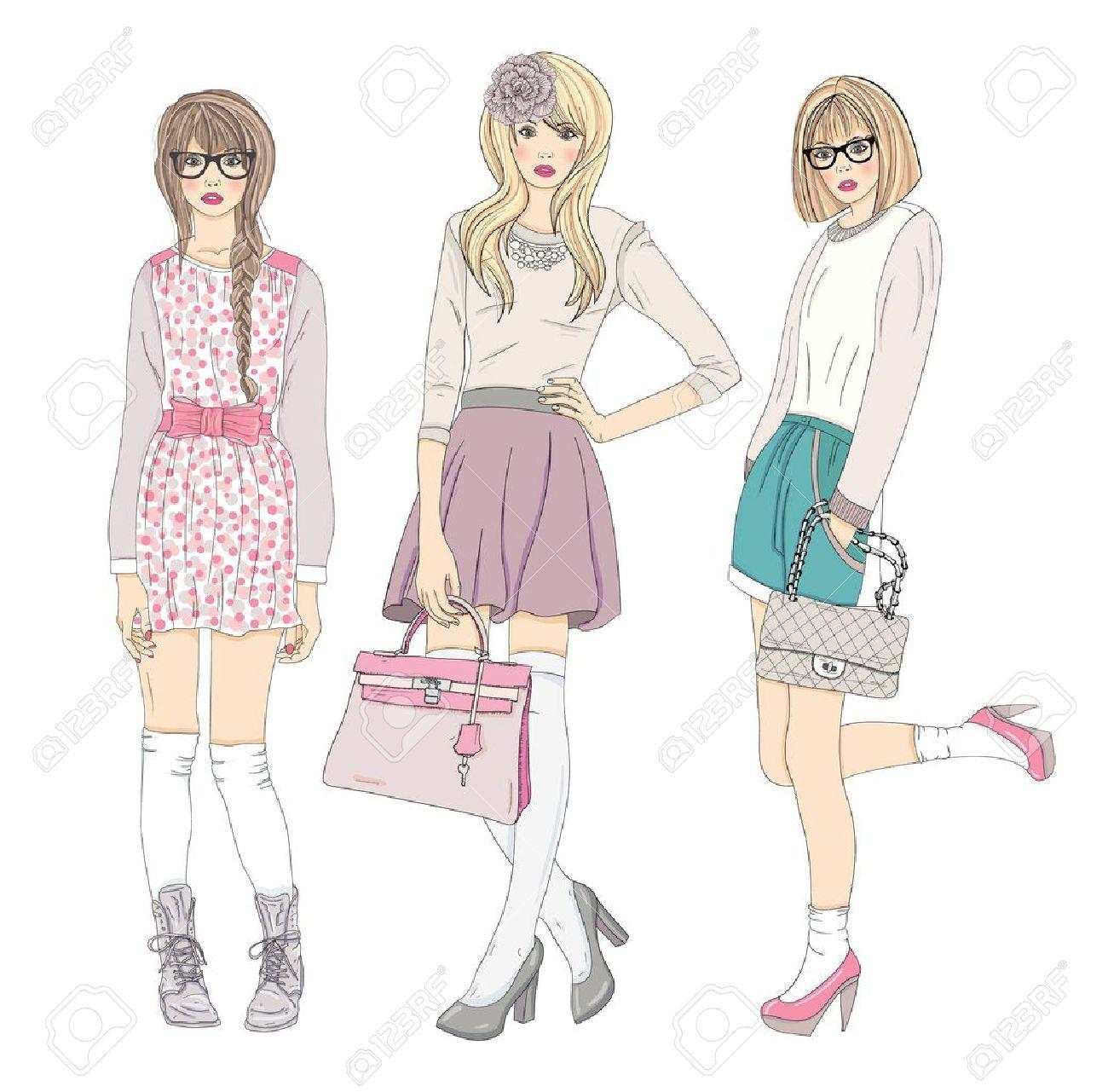 若者のファッションの女の子のイラストベクトル イラストファッショ
