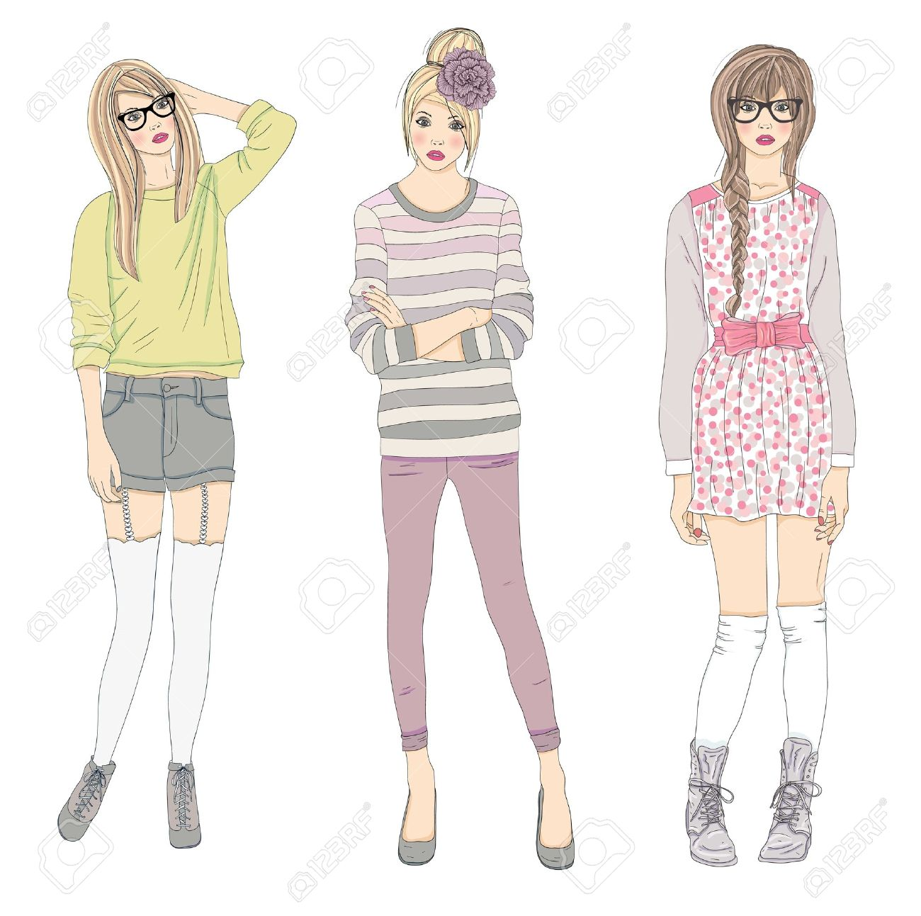 79e7bc65e2d8 Young Fashion Girls Illustration. Vector Illustration. Background ...