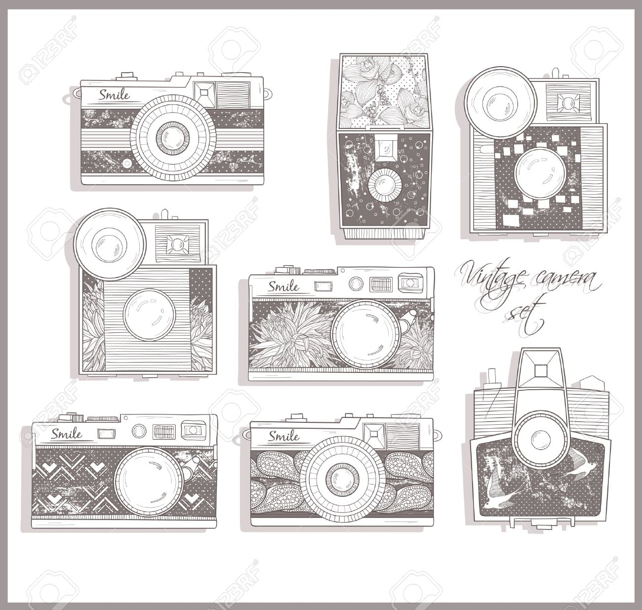 Retro photo cameras set. illustration. Vintage cameras with flowers. Camera with floral pattern. Stock Vector - 12497469